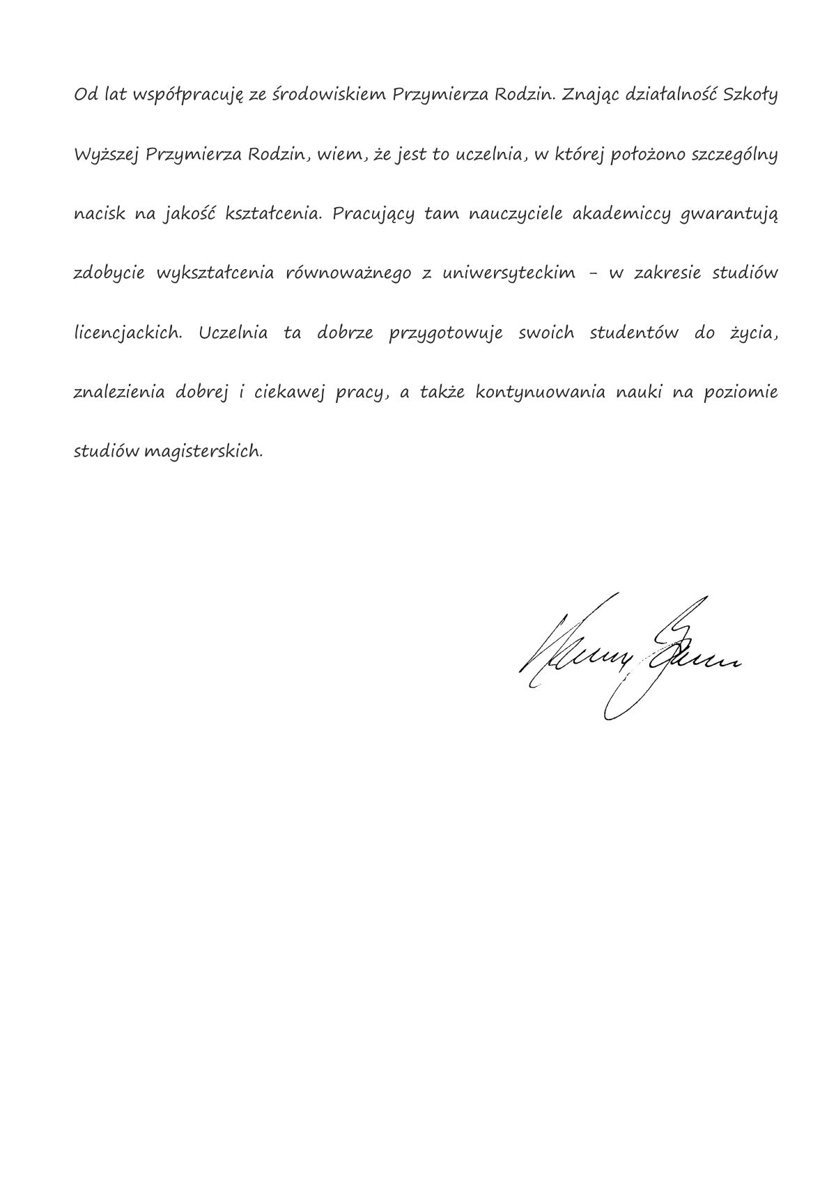 Krzysztof Zanussi - list polecajacy SWPR